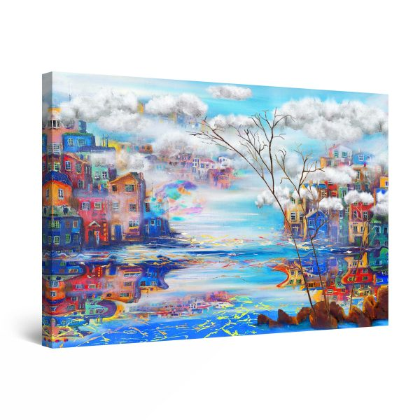 Canvas Wall Art - Blue River in the City Painting