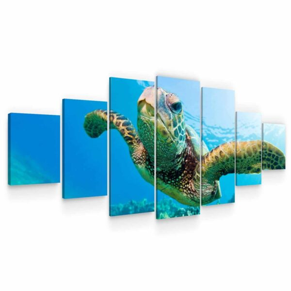 Huge Canvas Wall Art - Turtle in The Ocean Set of 7 Panels