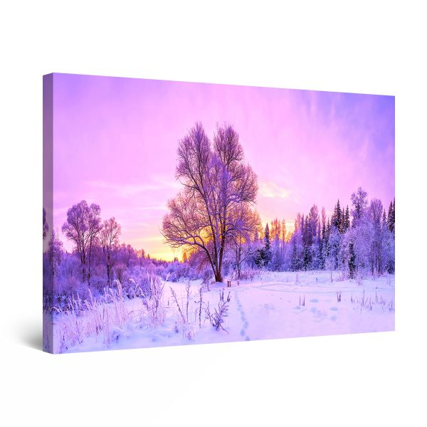 Canvas Wall Art - Abstract - Purple Winter Sunrise Landscape