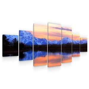 Huge Canvas Wall Art – Red Mountains and Lake Sunset Set for Living Room of 7 Panels