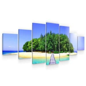 Huge Canvas Wall Art – Road to Island Beach Set for Living Room of 7 Panels