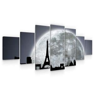 Huge Canvas Wall Art – Black and White Moon on Paris Set for Living Room of 7 Panels