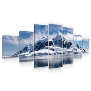 Huge Canvas Wall Art – White Mountains and Lake Set for Living Room of 7 Panels