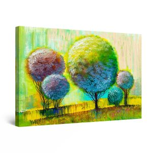 Canvas Wall Art - Abstract Rainbow Trees Painting Yellow Green 80 x 120 cm