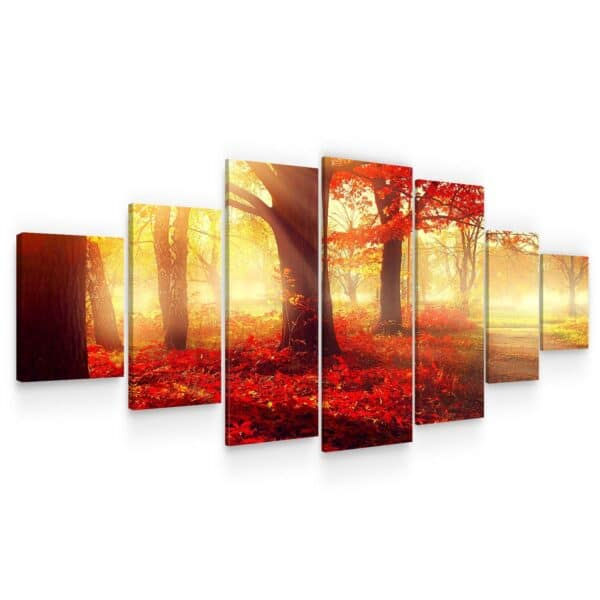 Huge Canvas Wall Art - Red Forest Set of 7 Panels