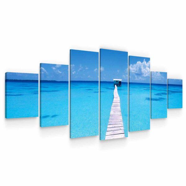Huge Canvas Wall Art - Summer Bridge Beach III Set of 7 Panels