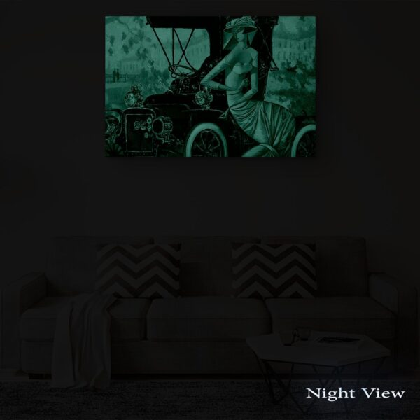 Canvas Wall Art - Abstract Black Red Retro Car and Woman 80 x 120 cm