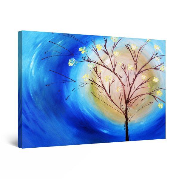Canvas Wall Art - Blue Sky Tree and Sun
