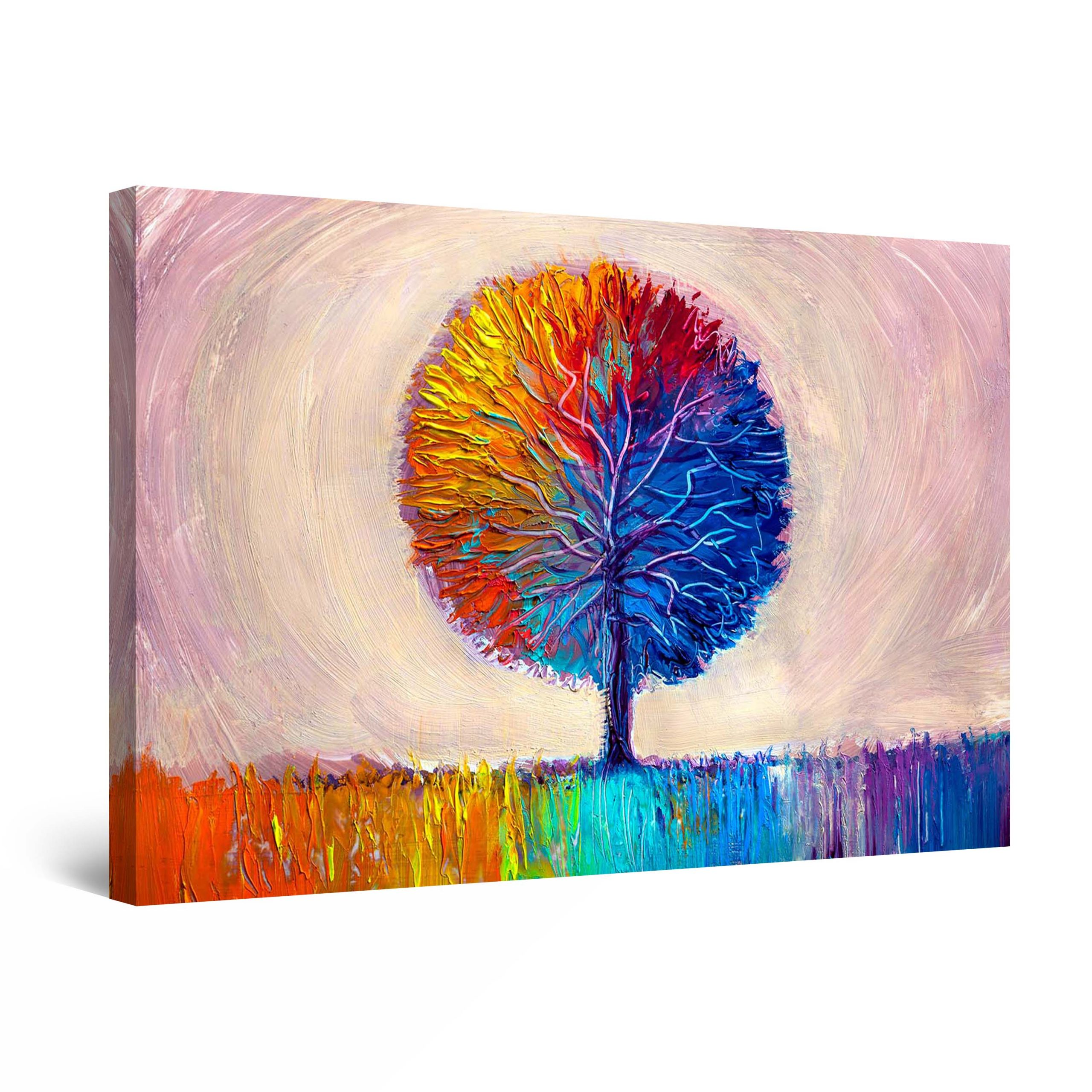 Canvas Wall Art Abstract Lonely Dual Rainbow Tree Painting Red Blue Orange 60 X 90 Cm Lys Og