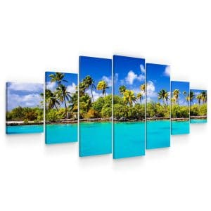 Huge Canvas Wall Art – Sunny Beach Set for Living Room of 7 Panels