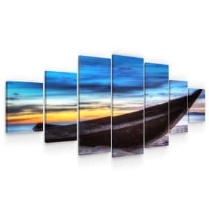 Huge Canvas Wall Art – Long Boat on the Beach Set for Living Room of 7 Panels