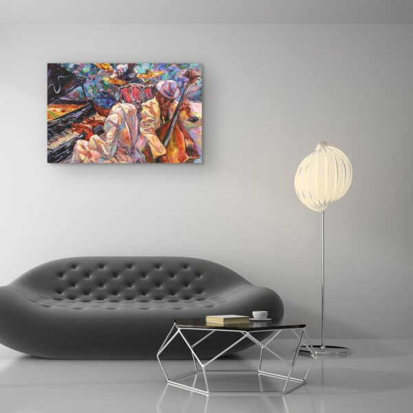 Canvas Wall Art - Abstract - Orange Jazz Orchestra Music Painting