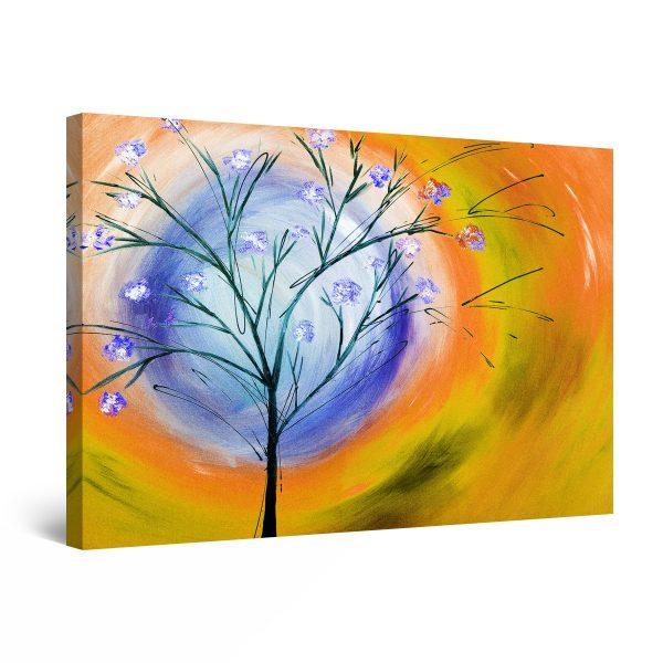 Canvas Wall Art - Yellow Sky Tree and Sun