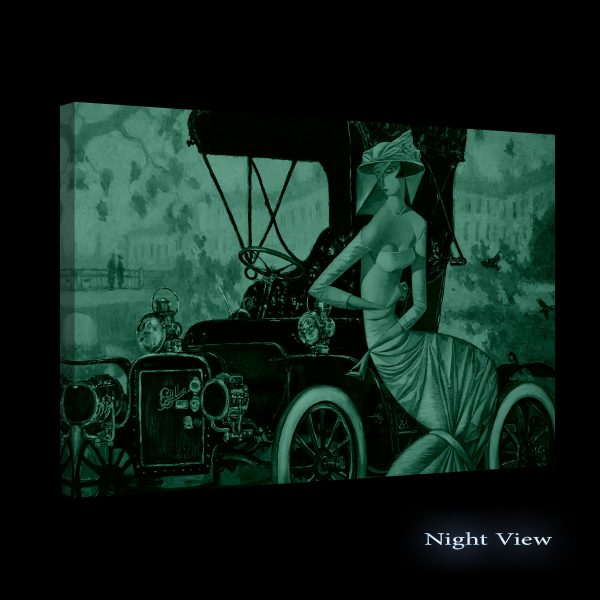 Canvas Wall Art - Black Red Retro Car and Woman