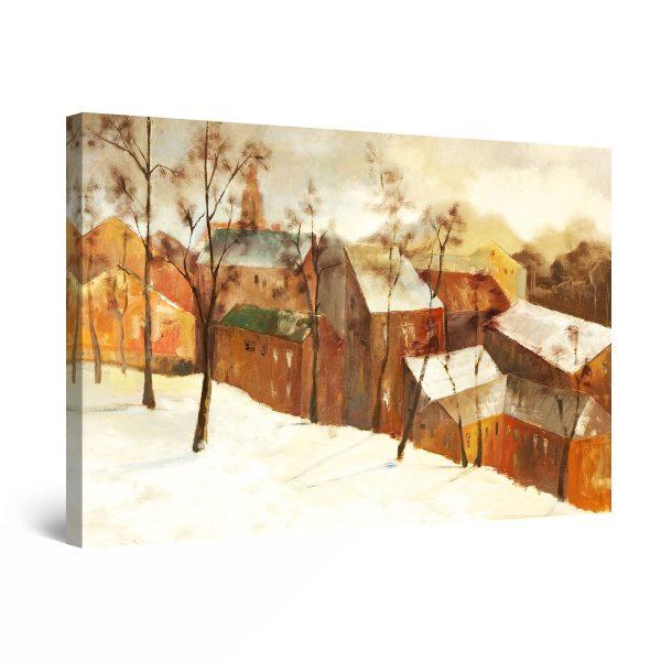 Canvas Wall Art - Winter Village Brown