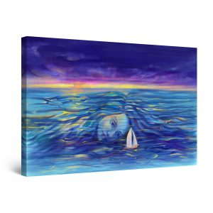 Canvas Wall Art - Abstract - Woman and Sea Dream Fantasy Painting 60 x 90 cm