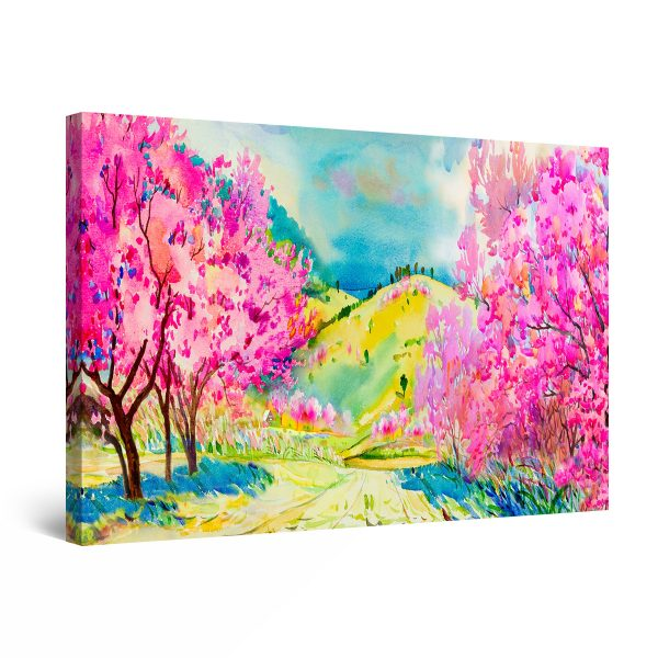 Canvas Wall Art - Abstract - On the Blooming Trees Fields, Pastel Colors Painting