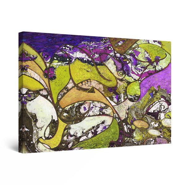 Canvas Wall Art - Green Mauve Abstract Painting Chaos