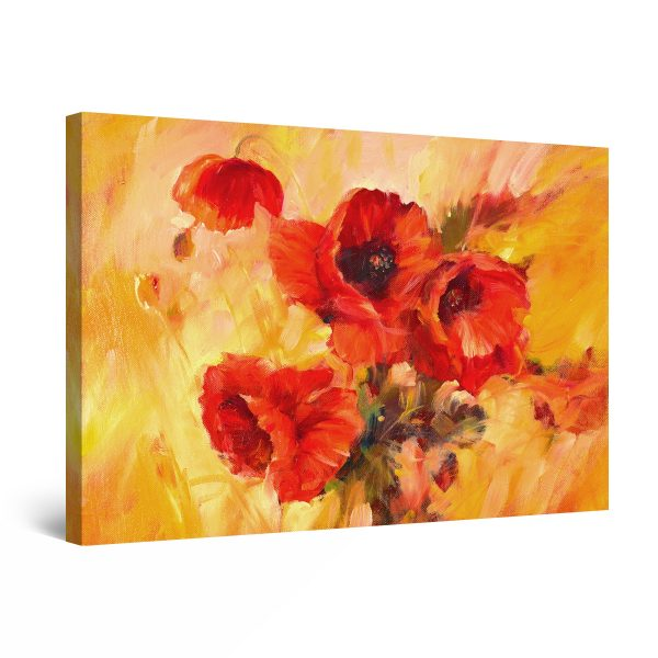 Canvas Wall Art - Abstract - Fragrant Gift, Bouquet of Red Poppies