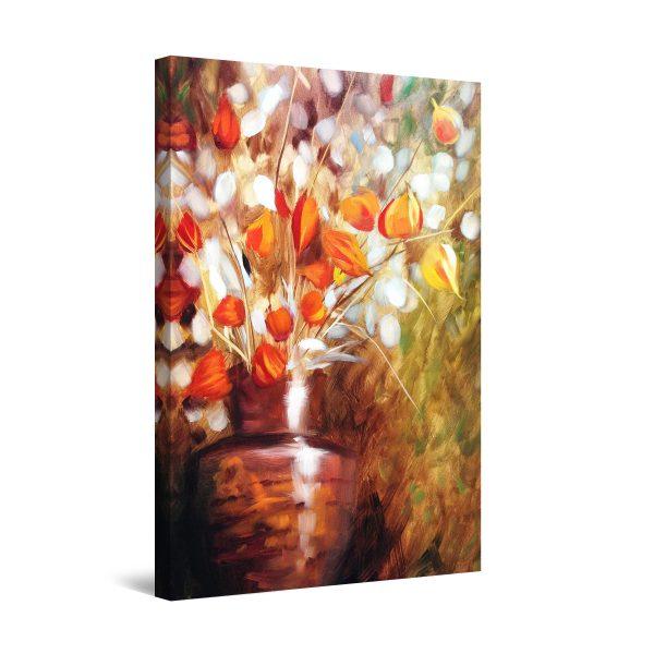 Canvas Wall Art - Winter Flowers Brown Decor