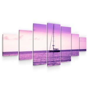 Huge Canvas Wall Art - Purple Ocean View Set for Living Room of 7 Panels