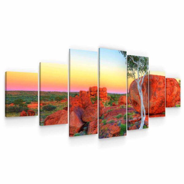 Huge Canvas Wall Art - Red Rocks Set of 7 Panels