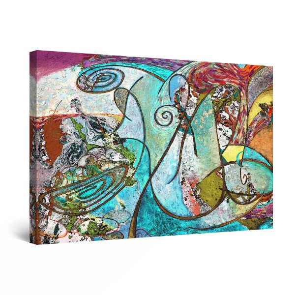 Canvas Wall Art - Red Teal Abstract Painting Ether