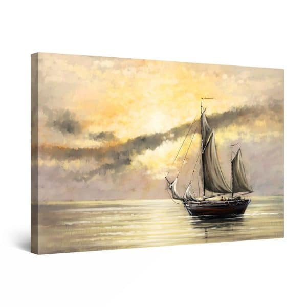 Canvas Wall Art - Abstract - With the Boat on the Calm Sea Painting