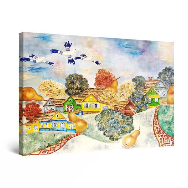 Canvas Wall Art - Rustic Village Colored Houses