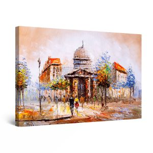 Canvas Wall Art - Open City Downtown Colored Painting 60 x 90cm