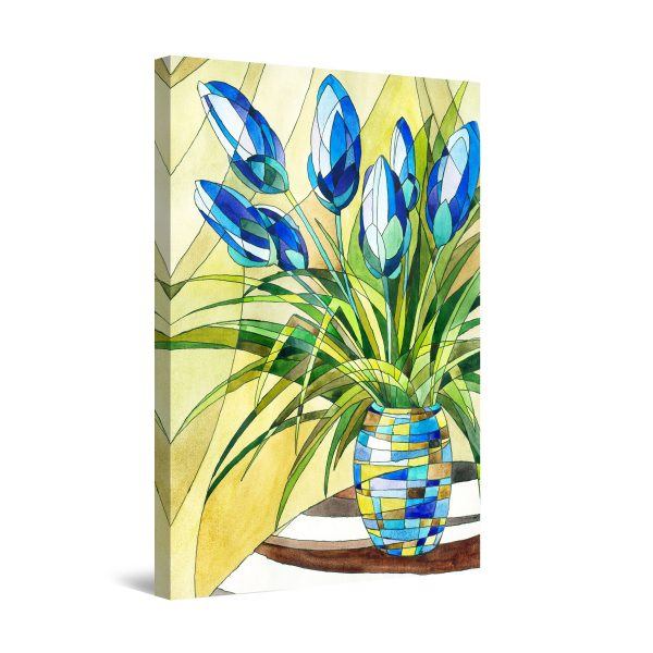 Canvas Wall Art - Blue Tulips Flowers