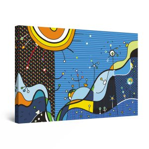 Canvas Wall Art - Abstract Kids Blue Sun Painting