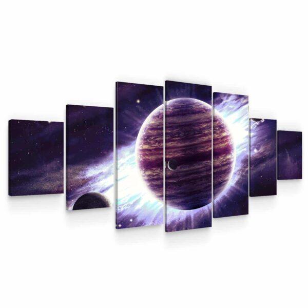 Huge Canvas Wall Art - Purple Planet Set of 7 Panels