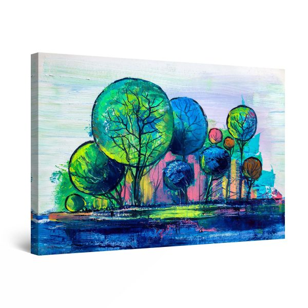 Canvas Wall Art - Abstract Rainbow Trees Painting Blue Green 60 x 90 cm