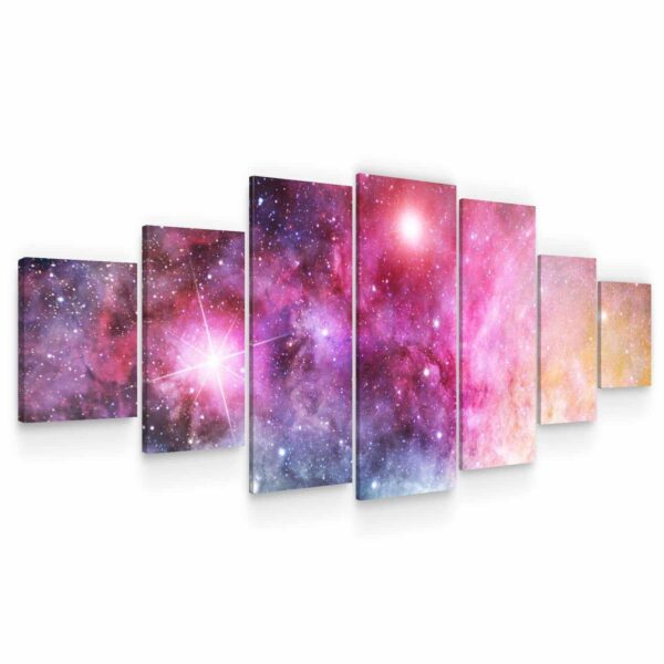 Huge Canvas Wall Art - Colorful Galaxy Set of 7 Panels