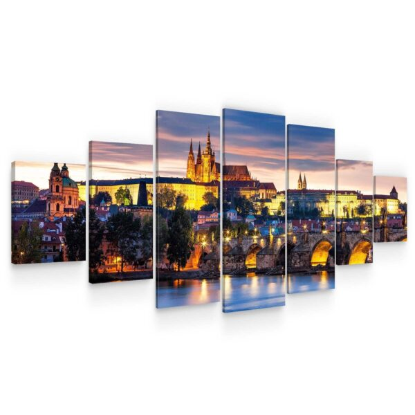 Huge Canvas Wall Art - Prague Castle From Old Town Set of 7 Panels