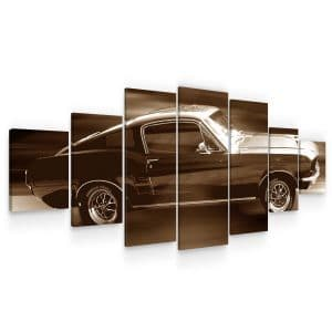 Huge Canvas Wall Art – Ford Mustang in full Speed Set for Living Room of 7 Panels
