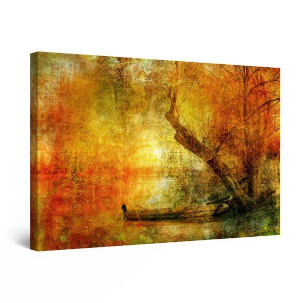 Canvas Wall Art - Boat Lake and Tree