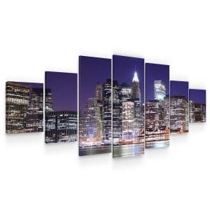 Huge Canvas Wall Art – NY City Lights Set for Living Room of 7 Panels