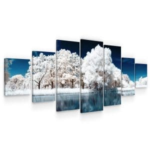 Huge Canvas Wall Art – White Frozen Forest and Lake Set for Living Room of 7 Panels
