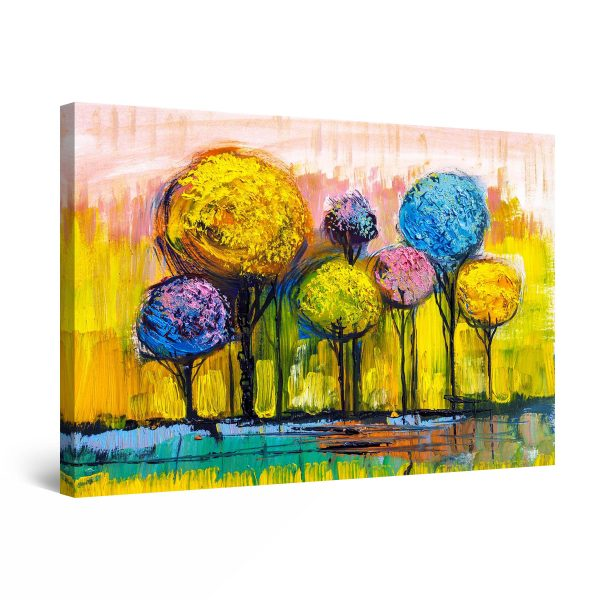 Canvas Wall Art - Abstract Rainbow Trees Painting Yellow Blue Purple 80 x 120 cm