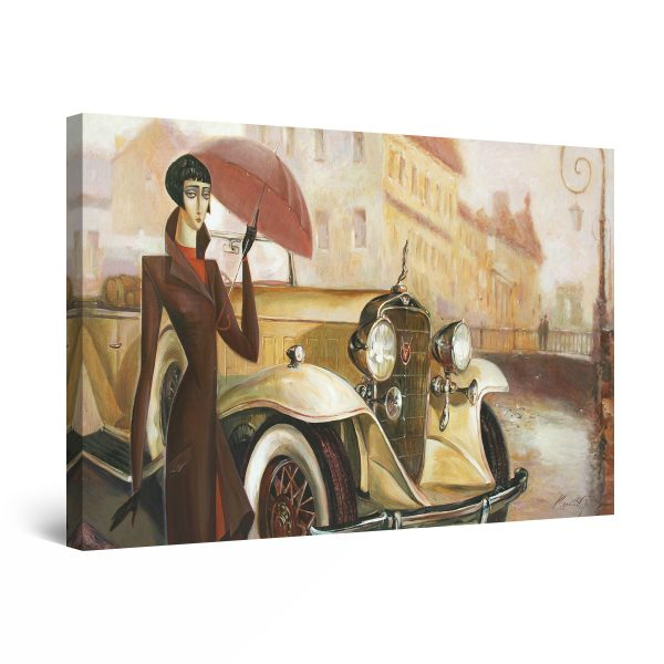 Canvas Wall Art - Beige Retro Car and Woman in Rainy Day