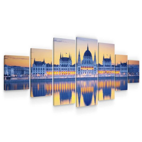 Huge Canvas Wall Art - City In The Mirror Of Water II Set of 7 Panels