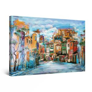 Canvas Wall Art - Multicolor City Houses Painting 80x 120 cm