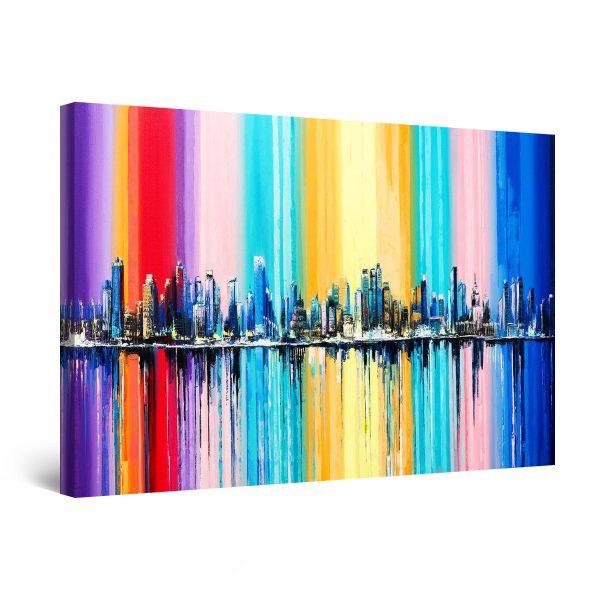 Canvas Wall Art - Multi Colored Cityscape Rainbow
