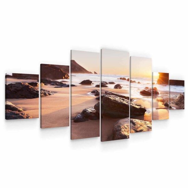 Huge Canvas Wall Art - Sunrise and Lonely Beach Set of 7 Panels