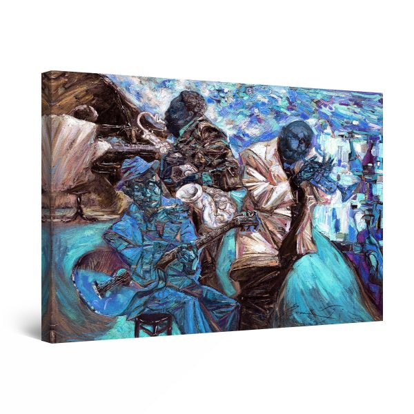 Canvas Wall Art - Abstract - Blue Jazz Orchestra Music Painting
