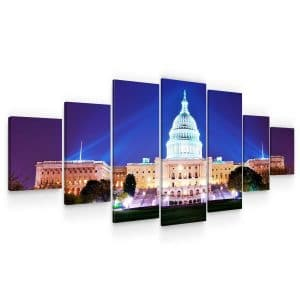 Huge Canvas Wall Art – Washington DC at Night Set for Living Room of 7 Panels
