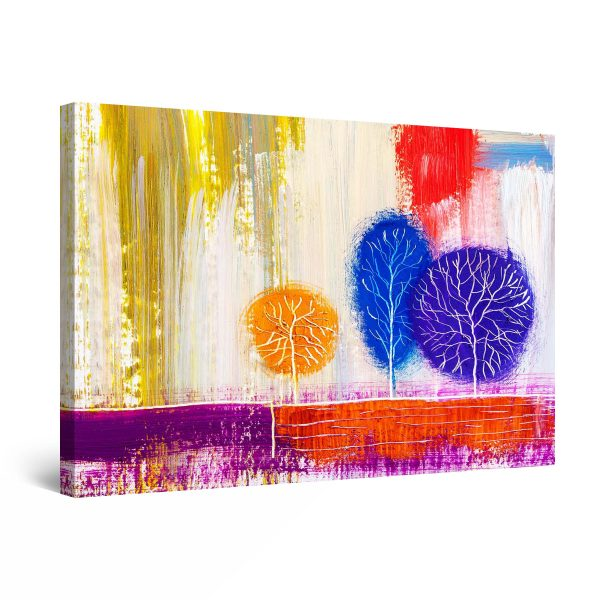 Canvas Wall Art - Rainbow Trees Painting Blue Yellow Red