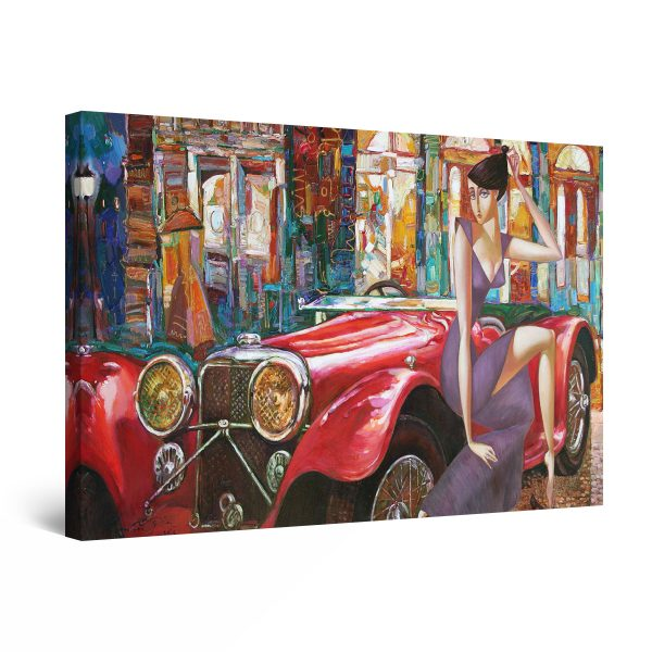 Canvas Wall Art - Red Long Vintage Car and Woman